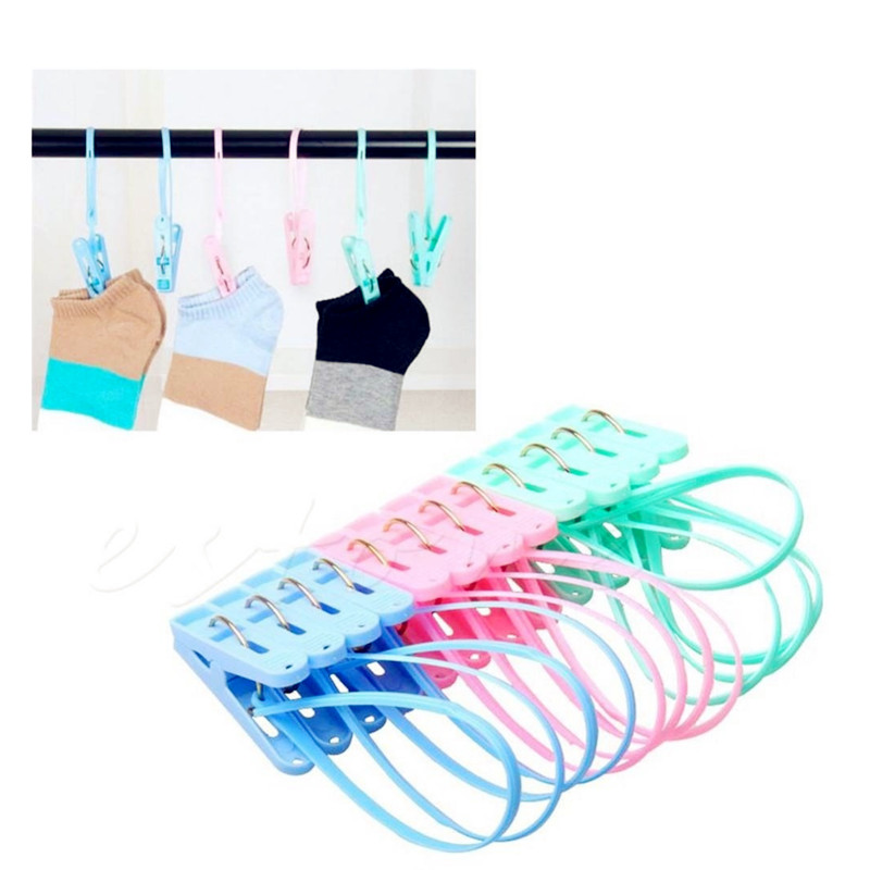 Nice 12pcs Colorful Clothespins Hook Laundry Clips Multipurpose Bra Socks Hanger Pegs Drop Ship Home Improvement