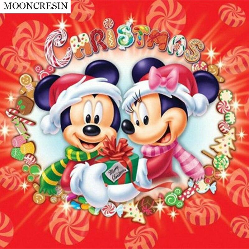 5D Diy Diamond Painting Cartoon Mickey Mouse Diamond Embroidery Cross Stitch Mosaic Crystal Needlework Christmas Decor Minnie