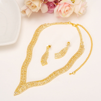 Fashion Crystal Wedding Jewelry Sets For Bride Party Costume Accessories Bridal Decorations Necklace Earring Jewellery gift