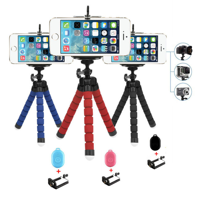 Flexible Octopus Tripod with Bluetooth Remote Phone Mount Holder Set for iPhone Xiaomi Mobile GoPro Digital Camera Accessory