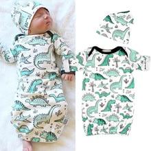 Nyfödd baby sovsäck barn sovsäck spädbarn baby pojke filtar tecknad dinosaur baby vinter sovsäck hatt 2st set