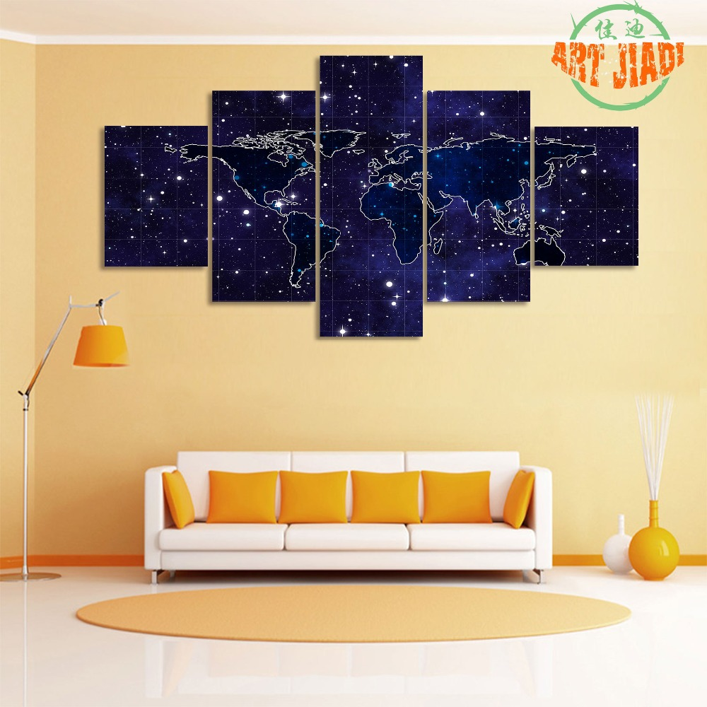 5 Pieces/set Canvas Art Earth Night Stars Sky Shine World Map Canvas ...