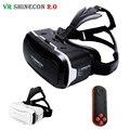 Couro shinecon vr vr 2.0 ii óculos de realidade virtual 3d fone de ouvido cartão vrbox para 4.7-6' remoto do telefone móvel + mocute controle