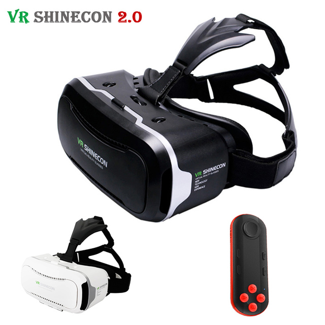 Leather Shinecon VR 2.0 II 3D Glasses Virtual Reality VR Headset Cardboard VRBOX For 4.7-6' Mobile Phone + Mocute Remote Control