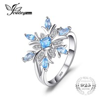 JewelryPalace Snowflake Genuine Blue Topaz Ring Solid 925 Sterling Silver Jewelry Fashion Ring For Women Christmas