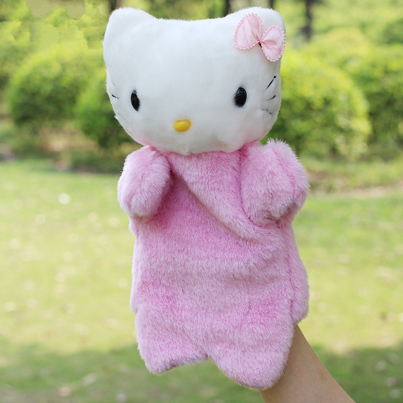 Cartoon Cat Plush Hand Puppet Toys Puppet Plush Hello Kity Pink Cute Cat Doll Toys For Kids Baby Birthday Christmas Gifts
