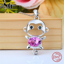 2018 sterling silver 925 cute animal monkey chain pendant&necklace with Zirconia diy fashion jewelry making for women gifts