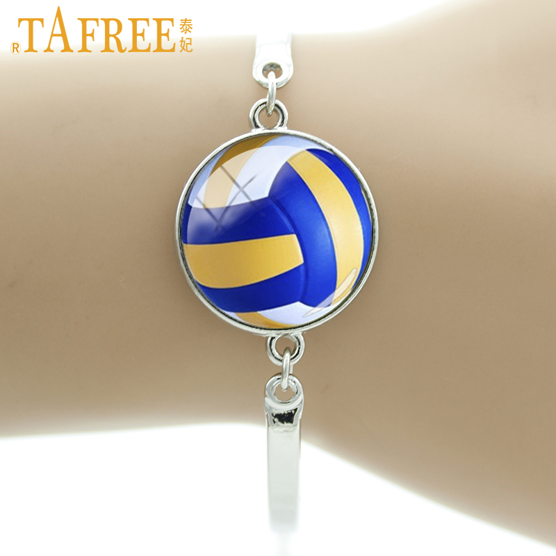 TAFREE Brand Best Deals Ever beach volleyball picture glass bracelet men women sports jewelry billiards Tennis bracelets T255 ...