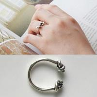 Real Pure 100 925 Sterling Silver Rings For Women Double Love Knot Ring Vintage Opening Adjustable