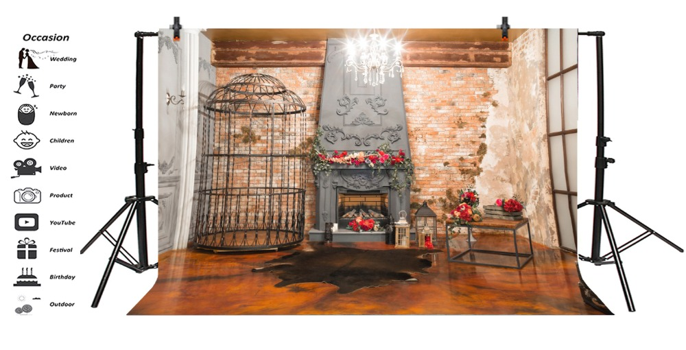 Laeacco Photography Backdrops Fireplace Cage Brick Wall Glitter Chandelier Christmas Scene Background Photocall For Photo Studio in Background from Consumer Electronics