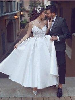 2019 Satin Wedding Dresses Lace Appliques A-Line Ankle-Length Zipper Back Simple Bridal Gowns Plus Size Customize Robe De Mariee