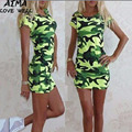 2017 New Fashion Print Camouflage Summer Cotton Dress Women Fashion Casual Dresses Short Sleeve O-Neck Sexy Short Dresses S-XL