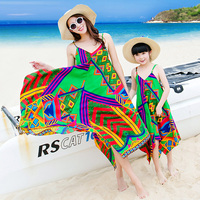 JY0386 Summer Fashion Beach little Grils Dress Casual Lady Dress Family Matching Outfits Clothes Mother Daughter Baby Gril Dress