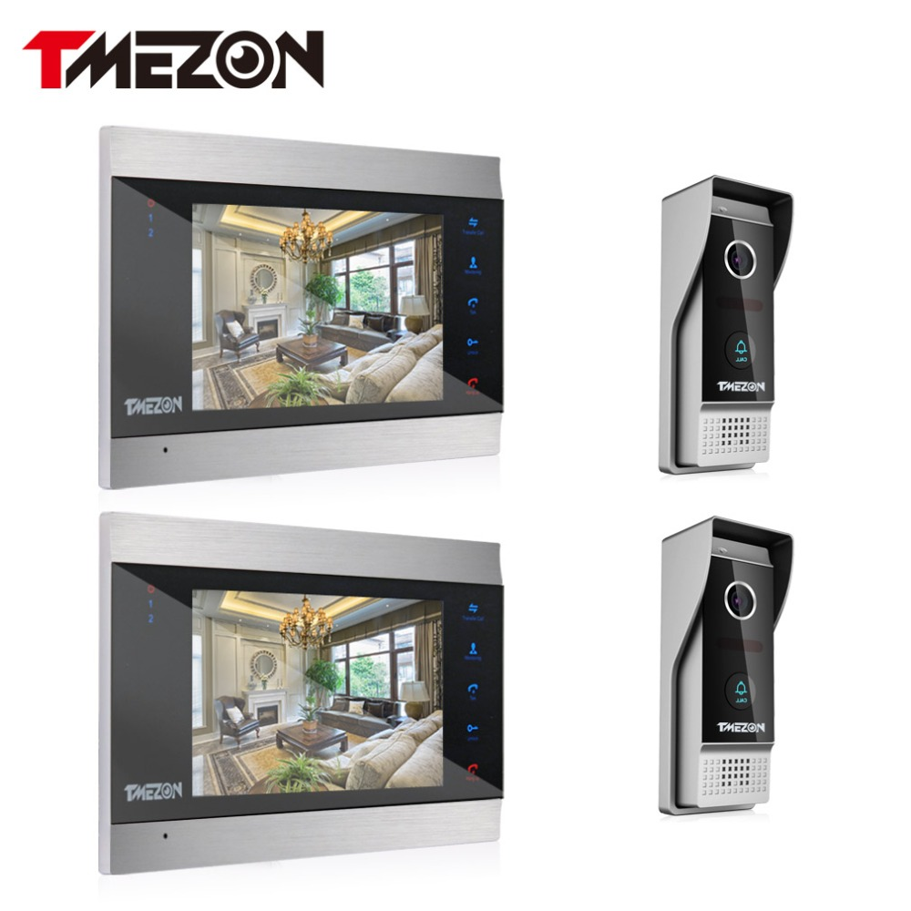 Tmezon Video Door Phone System Two 7 Color Monitor 2pcs 1200TVL Outdoor Doorbell Camera Waterproof Auto-IR Night Vision 2v2 Kit tmezon 4 inch tft color monitor 1200tvl camera video door phone intercom security speaker system waterproof ir night vision 1v1