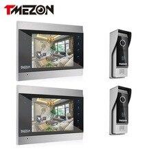Tmezon Video Door Phone System Two 7″ Color Monitor 2pcs 1200TVL Outdoor Doorbell Camera Waterproof Auto-IR Night Vision 2v2 Kit