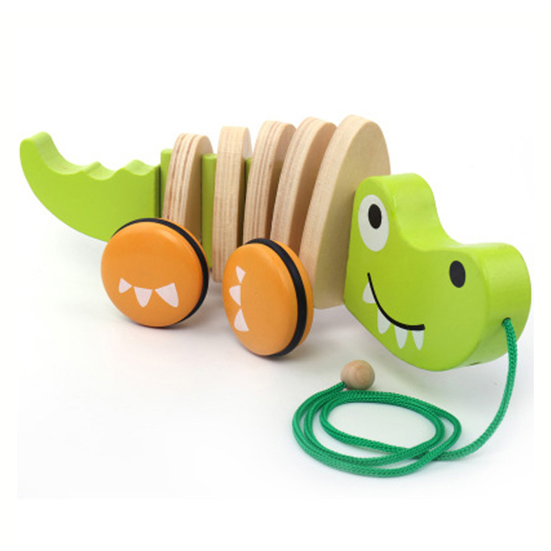 boys girls kids toys gifts baby crocodile wooden toy tractor dog animal cartoon children crooked tractors model building kits