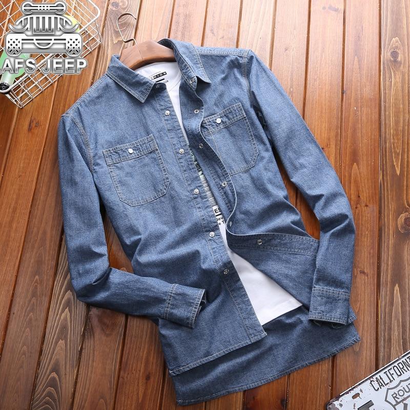 Brand AFS JEEP Size 5XL Plus Size Men Shirts New 2019 Denim Jeans Shirt  Autumn  Long Sleeve Classic British Style Design