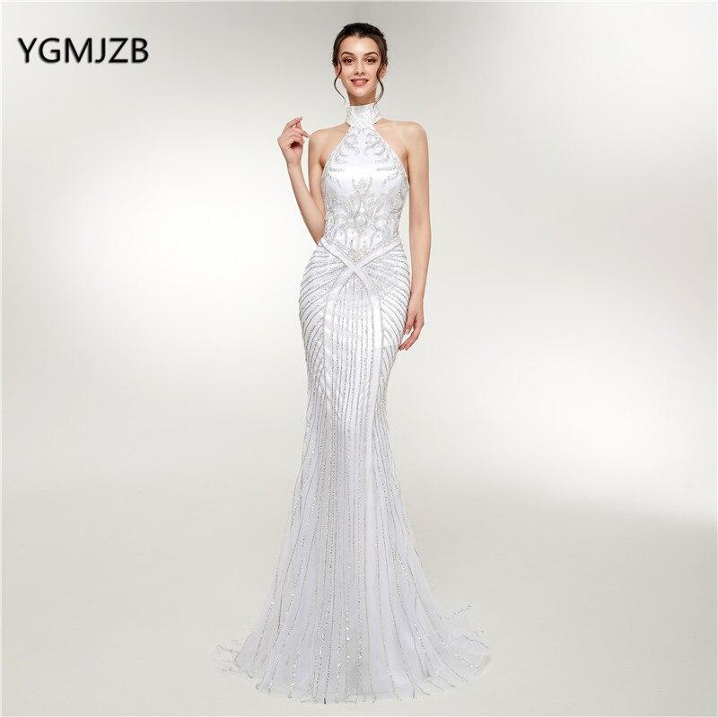 White Elegant Evening Dresses Long 2018 Mermaid High Neck Stunning ...