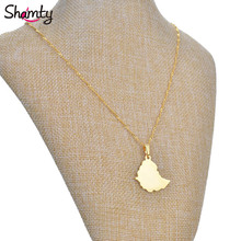 Smooth 2.5cm Ethiopian map pendant necklaces chain women men 24K Gold Plated Jewelry Africa Gold Chain Necklace Ethiopia Maps