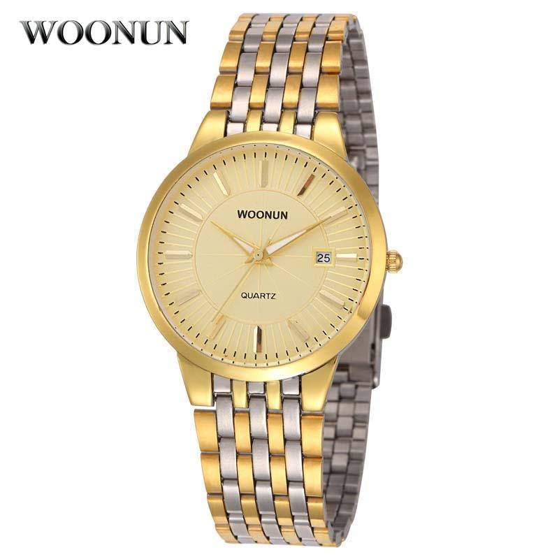 Woonun Topmerk Luxe Gouden Horloges Heren Herenhorloge Waterbestendig Schokbestendig Klok Volledig Staal Band Datum Quartzhorloge Dunne herenhorloges