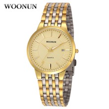 Woonun Top Brand Luxury Gold Watches Men Male Waterproof Shockproof Clock Full Steel Band Date Quartz Watch Thin Mens Watches
