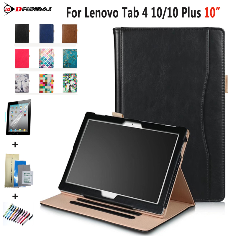 MDFUNDAS Coque For Lenovo Tab4 10/10 Plus Front Support Flip Wallet Leather Case Cover For Tab 4 10/10 Plus + Protective Film embossed flip wallet leather protective case for iphone 6s plus 6 plus dandelion and lovers