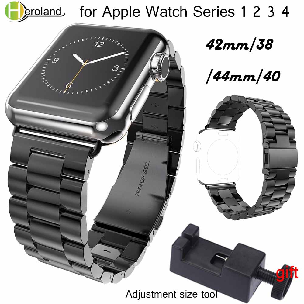Stainless Steel Watchband For IWatch Apple Watch 38mm 40mm 42mm 44mm Series 1 2 3 4 Wrist Band Link Belt Strap Replacement Strap