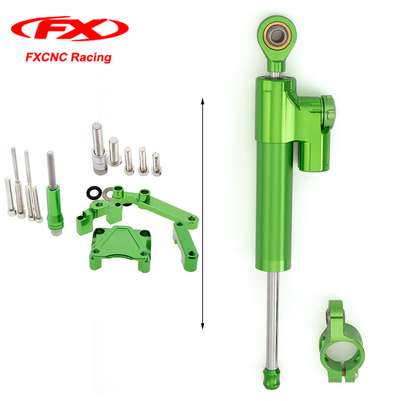 CNC Green Motorcycle Accessories Steering Damper Stabilizer + Mounting Brackets for Kawasaki EX300 NINJA300 2015 2014 2013-2016