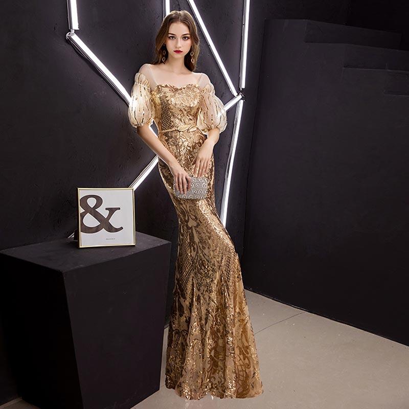 FADISTEE New arrival elegant prom dresses Vestido de Festa gown mermaid Robe De Soiree half puff sleeve sleeves bling sequins 3