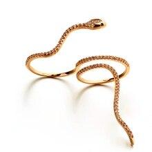 Nuevo Diseño AAA Cubic Zircon Crystal Serpiente Doble Anillo de Dedo para Las Mujeres Chapado En Oro Marca Bague