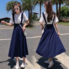 2019 Summer Women Vintage Mori Girl Long Suspenders Straps Braces Skirt School Preppy Style A-line High Waist Pleated
