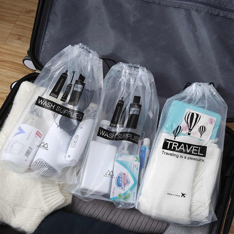 7b4375d0cfd4d5 Transparent Cosmetic Bag Travel Makeup Case Women Drawstring Make Up Bath  Organizer Toiletry Wash Beauty Kit
