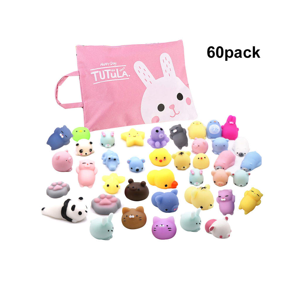 60pcs Mochi Squishy Toys,Assorted Animal Squishies And Storage Bag,Stress Relief Toy Kids Squeeze Toys Adult Venting Child Gift(China)