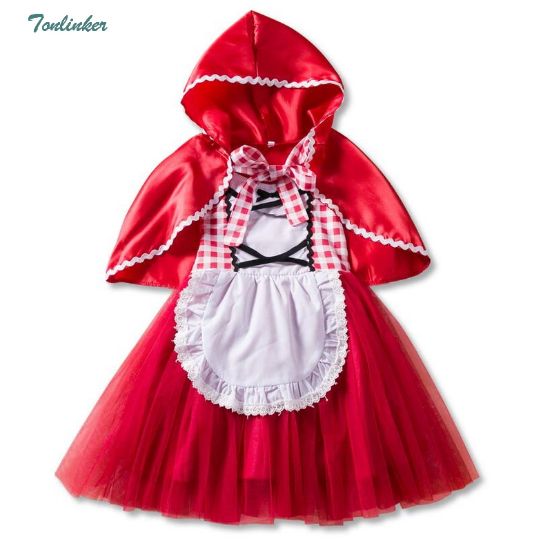 Halloween Costumes For Girls Princess Little Red Riding Hood Tutu Dress And Cape Child Kids Christmas Cosplay Fancy Vestido 1-6T