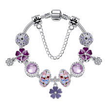 Purple Flower 925 Fashion Silver Charms Bracelet Snake Chain Bangle For Women Crystal Beads Fit Brand Bracelets Jewelry