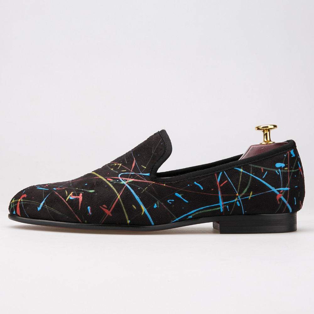 New handmade graffiti men party and wedding loafers fashion slip on men casual shoes British style smoking slippers men's flat cbjsho british style summer men loafers 2017 new casual shoes slip on fashion drivers loafer genuine leather moccasins