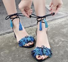 Carpaton 2017 Hot Sale Women High Heel Sandals Fashion Peep Toe Fringe Ankle Strap Low Heel