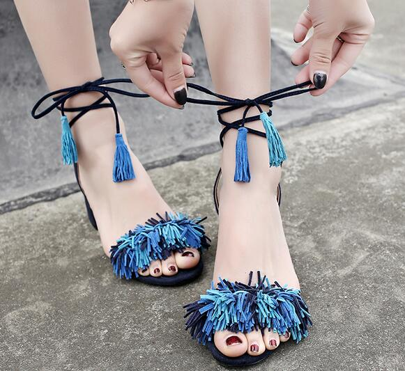 Carpaton 2017 Hot Sale font b Women b font High Heel Sandals Fashion Peep Toe Fringe