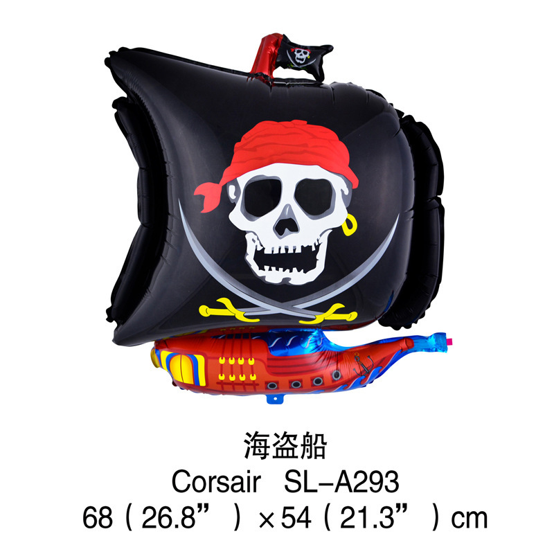 10pcs/lot Large Pirate Ship Foil Balloons Halloween Party Skull Latex Helium Pirate Ship Globos Decor Supplies Child Toys Ballons & Accessories Home & Garden