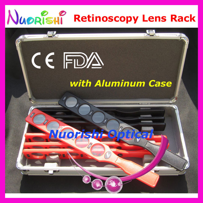 E03-1 Retinoscopy Lens Rack Set Kit Optical Supplies Trial Board Lens 8 Plastic Bar 40 Lenses Aluminum Case Lowest Shipping Cost