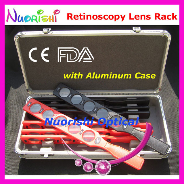 E03-1 lente retinoscopia Kit conjunto de Rack de suprimentos julgamento óptico Board Lens 8 lentes caixa de alumínio de plástico Bar 40 menor custo de transporte