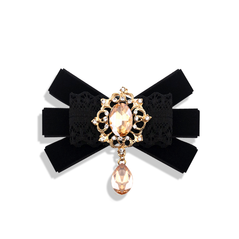 Fashion women bow tie Lace Butterfly brooch bowtie Girl Studded collar bowknot Girl Hotel Waitress Neck Wear Shirt Accessories in Men 39 s Ties amp Handkerchiefs from Apparel Accessories