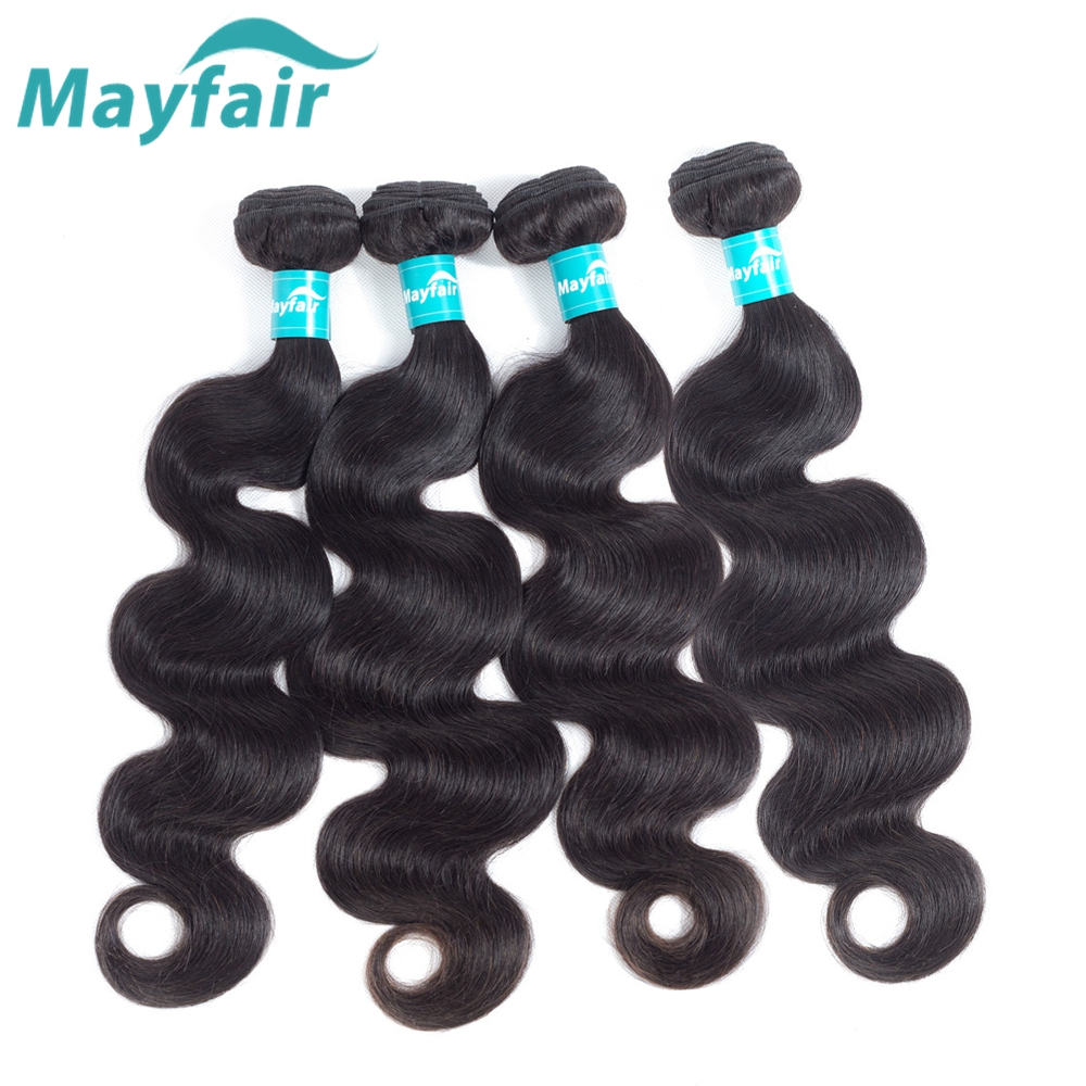 Malaysian Body Wave 4 Bundles Mayfair Hair 100% Human Hair Weave Bundles Remy Hair Extension Natural Color