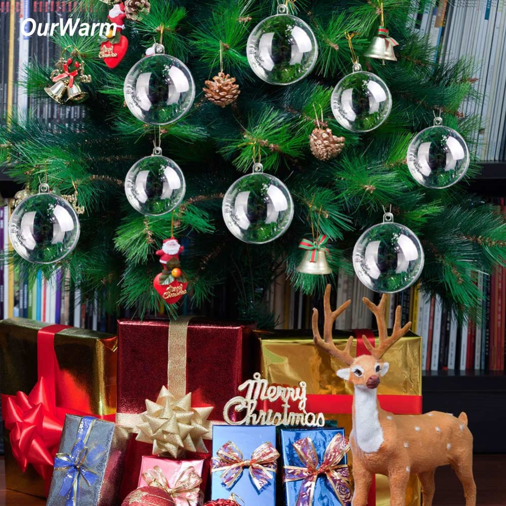 OurWarm 10Pcs 3-10cm Transparent Ball Plastic Craft Sphere Fillable Baubles Wedding Favors And Gifts Box Christmas Tree Ornament