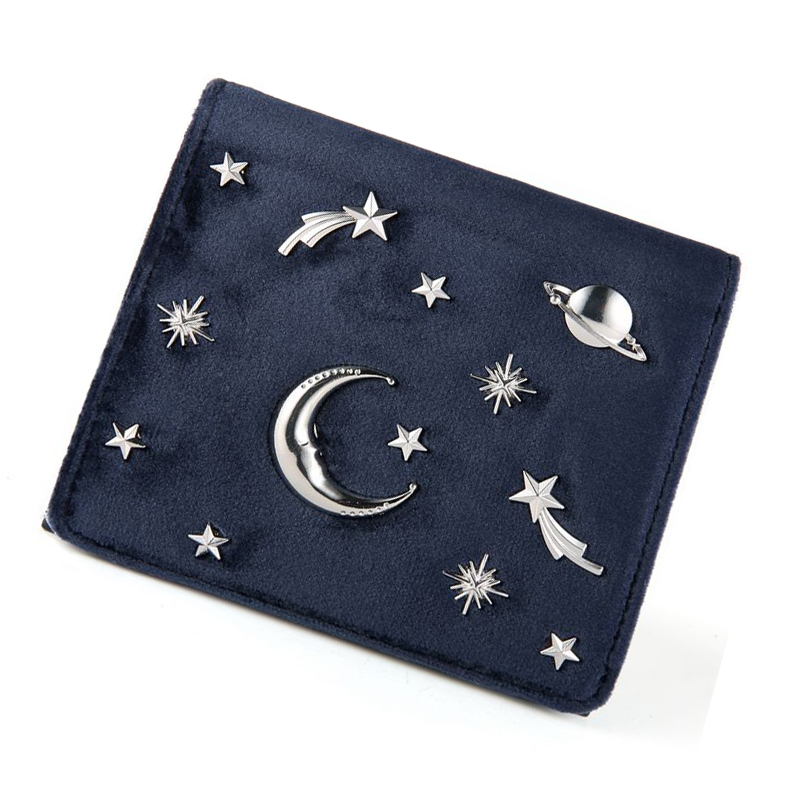 Women Wallet Female Coins Purse Card Holder Velvet Leather Hasp Short Small Wallet Space Star Pattern Women Clutch Bag Casual