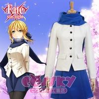 Anime fate Zero,/stay night saber Cosplay Costumea Altria Pendragon Saber/Vua arthur nữ tùy Uniform