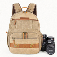 Waterproof Batik Canvas Camera Backpack Vintage Durable Outdoor DSLR Digital Photography Padded Photo Bag for Canon Nikon Sony