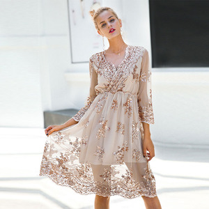 Sexy Dress Women 2019 Spring Summer V-neck Sequined A-Line Party Dresses Casual Female Mesh Streetwear Midi Dress Vestidos