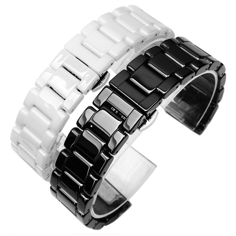 Hot Sale Ceramic 14mm16mm 18mm 20mm 22mm Black White Watchband Men Women Bracelet For AR CK General Watch Strap 2016 new hot sale brand magic star black white analog quartz bracelet watch wristwatches for women girls men lovers op001