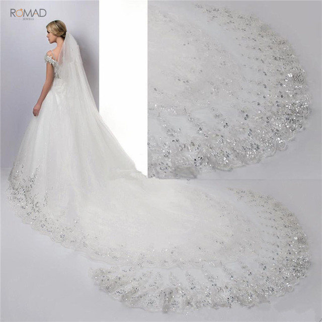 Romad 4 Meter White Ivory Cathedral Wedding Veils Lace Bling Sequins Long Bridal Veils With Comb Wedding Accessories W3